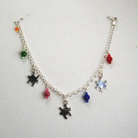 B0263 - Sterling Silver Autism Awareness - 7.5""