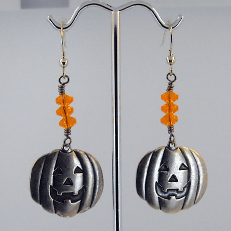 "E0293 - Jack-O-Lantern earrings - 2.25"" - French hooks"