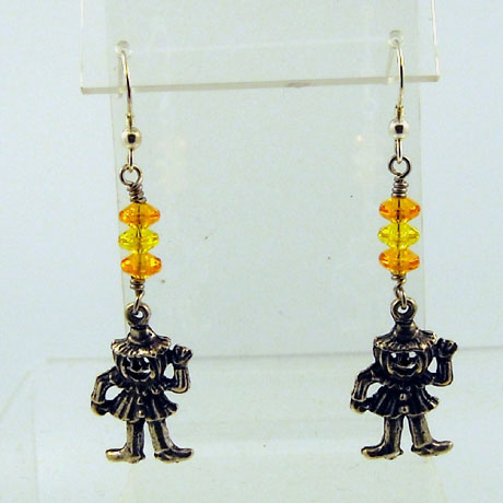 "E0294 - Jack-O-Man earrings - 2.5"" - French hooks"