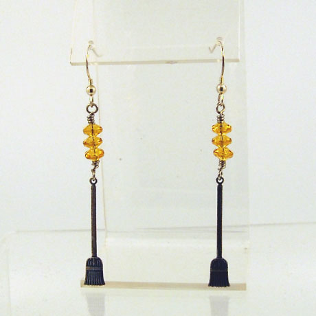 "E0295 - Broomstick earrings - 2.75"" - French hooks - Click Image to Close"