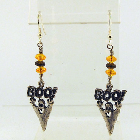 "E0296 - Boo Ghost earrings - 2.75"" - French hooks"