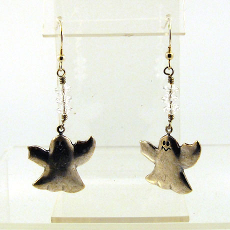 "E0297 - Ghost earrings - 2.5"" - French hooks"
