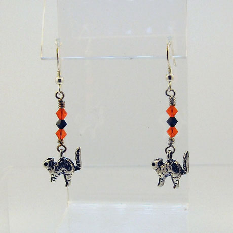 "E0301SW - Cat earrings - 2"" French hooks"