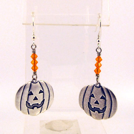 "E0302SW - Jack-O-Lantern earrings - 2.25"" - French hooks"