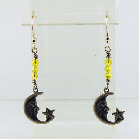 "E0303SW - Half Moon w/star earrings - 2"" - French hooks"