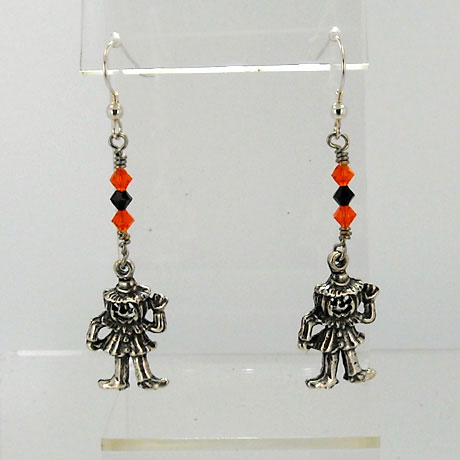 "E0308SW - Jack-O-Man earrings - 2.5"" - French hooks"