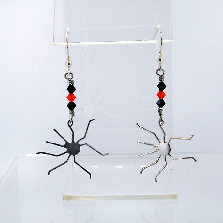 "E0309SW - Spider earrings - 2.5"" - French hooks"