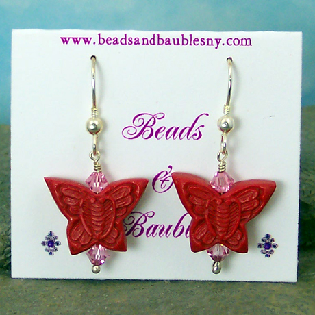 "E0366 - Red Cinnabar Butterflies - 1.5"" french hooks"