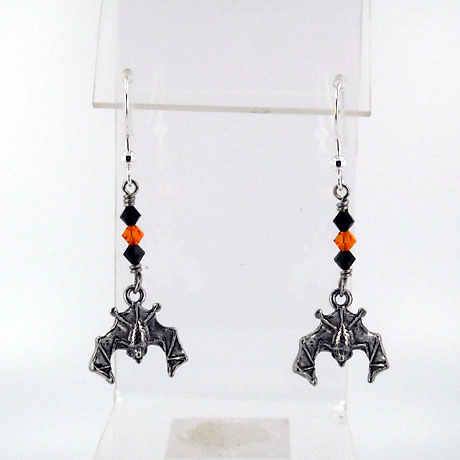 "E0499SW - Bat earrings - 2.5"" - French hooks"