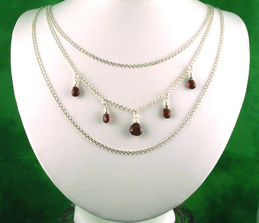 N0314 - Pomegranate Tears - Triple strand 20,22, 25""
