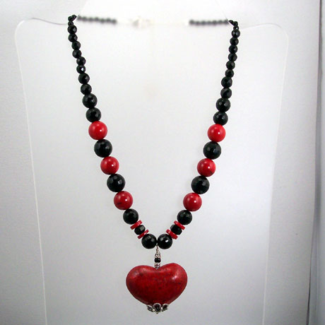 "N0364 - Flaming Heart - 16 - 18"" adjustable"