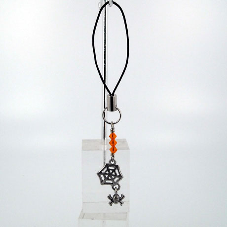 ZPSW074 - Spider Web w/ Hanging Spider - zipper pull 2""