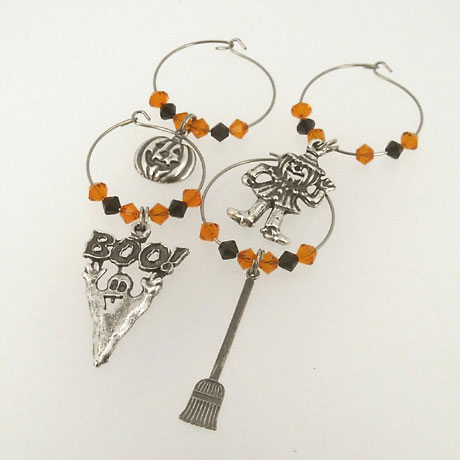 WC018ASW - Halloween Wine Charms - 4 pieces